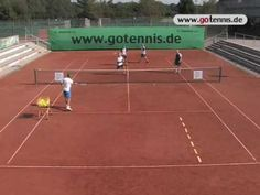 tennis training video volley techniques - group drill - YouTube