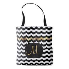 All Over Print Gold, White & Black Chevron Design Tote Bag #Tote #Bag