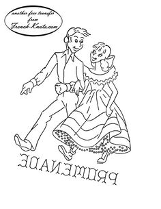 Square Dance Couple Embroidery Transfer Pattern