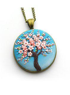 Sakura-necklace Tree-Of-Life necklace pendant Cherry blossom