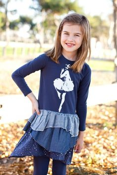 Paper Wings Dancer Navy Blue Dress for Lily