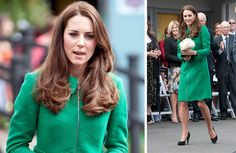 The Duchess wore a striking green Erdem coat,