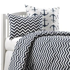 Navy Blue College Bedding – American Made Dorm & Home. Beautiful chevron dorm bedding, accent pillows and euro shams available to match. Shop now! #madeinUSA