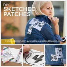 Patches are hot for fall, create your own on trend DIY Sketched Patches using Tulip Fabric Markers and this simple step by step DIY tutorial. Jean Crafts, Fabric Markers, Sewing A Button, Hand Sewing, Diy Clothing, Diy Fashion, Fashion Ideas, Diy Tutorial, Sewing Projects
