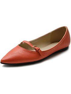 Ollio Women's Shoe Ballet Pointed Toe Mary Jane Flat (6.5 B(M) US, Orange) ❤ ...