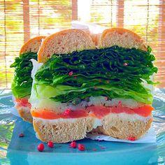 Homemade bagel sandwich(smoked samon and cream cheese)