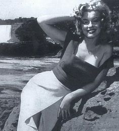 """Marilyn during the filming of """"Niagara"""". Photo by George Bailey, 1952."""