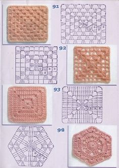 Crochet Granny Square Rose Color Combos 38 Ideas For 2019 Crochet Edging Patterns, Crochet Blocks, Granny Square Crochet Pattern, Crochet Diagram, Crochet Chart, Crochet Squares, Crochet Granny, Crochet Motif, Crochet Designs