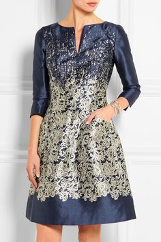Navy and Silver Oscar de la Renta Oscar De La Renta Printed Silk and  Cotton-Blend Dress eb59e44180