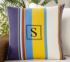 Outdoor Personalized Travis Stripe Pillow #potterybarn