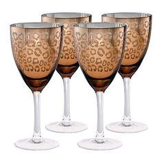 Artland Leopard 4-pc. Wine Glass Set - SUCH girlie night glasses.