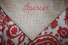 Personalized Coral Suzani with Minky Blanket by DesignsbyChristyS, $45.00