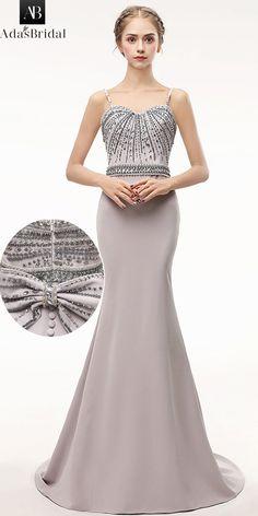 7230e615f647 Gorgeous Si Miantan Spaghetti Straps Neckline Floor-length Mermaid Evening  Dress With Beadings   Bowknot