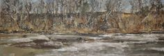 """Raymond Berry: Gilmans, Morning and Sycamores, January 31-February 7, 2015, Oil on Board, 28"""" x 80"""""""