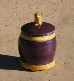 Purple Trinket Jar with golden bands and owl knob - hand thrown stoneware pottery, home decor, kitchenware by muddywaterscc. Explore more products on http://muddywaterscc.etsy.com