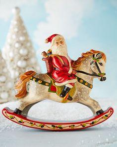 H851J Vaillancourt Folk Art Santa on Rocking Horse Figure