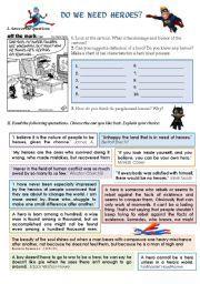 English worksheet: DO WE NEED HEROES?