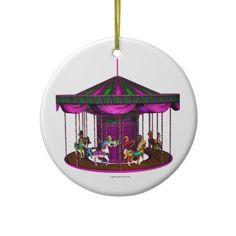 SOLD: The Purple Carousel Christmas Ornament $16.85 by Graphic Allusions. #carousels #ornaments #christmas #gifts