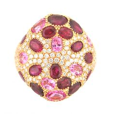 Sapphire, Ruby, Diamond Ring (050778-3) Rosendorff Amore Collection Ring set with seven oval Pink Sapphires, fifteen oval Rubies and one hundred and forty four round cut Diamonds. This stunning design has gems totaling 6.19 carats and is crafted in  18 carat Rose Gold♥♥