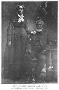 Rev. Josiah Henson (July 15, 1789 - May 15, 1883) and his wife Nancy.    After he escaped to Canada in October 1830, it is said Rev. Henson aided more than 600 slaves to freedom. He founded a settlement and school for other fugitive slaves called the Dawn Settlement in Ontario.