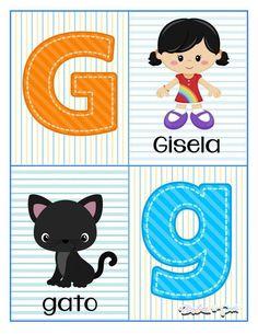 Tarjetas para trabajar el abecedario - Imagenes Educativas Alphabet Letters Images, Alphabet Cards, School Labels, Pre Kindergarten, Speech And Language, Future Baby, Preschool, Classroom, Kids Rugs