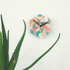 Wooden hexagon mosaic clock | wall decor, office gift by Ravdeco on Etsy