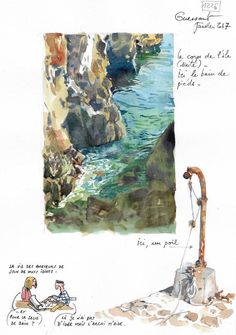 A Brittany by Contours / Ouessant - Fantasy Book Watercolor Sketchbook, Art Sketchbook, Watercolor Paintings, Watercolour, Landscape Sketch, Landscape Art, Amazing Drawings, Art Et Illustration, Sketchbook Inspiration