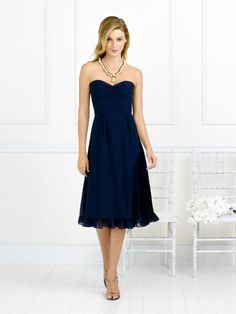 Bridesmaid Dress: Sweetheart Natural Waist Pleated Tea Length Chiffon Navy Blue Bridesmaid Dresses BD0149