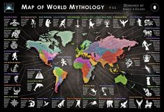 The Map of World Mythology, by Simon E. Davies, shows who believes what across the world. Check it out for a tour through the human imagination!