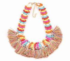 Colorful Bead Tassel Pendant Choker Chunky Statement Charm Necklace For Women Bohemian Necklace, Tassel Necklace, Statement Necklaces, Novo Design, Handbag Accessories, Boho Chic, Tassels, Chokers, Charmed