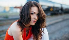 By Fearless Photography #fearlessphotography #summer #trains #tracks #denver #city #urban #photography #bright #colors #sunset #brunette #long #hair