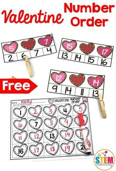 A fun math freebie that is a sweet way to work on number recognition, number sequencing with preschool, pre-k and kindergarten kids this Valentine's Day! Fun Math, Preschool Activities, Montessori Math, Valentine Theme, Valentine Nails, Valentine Ideas, 2 Kind, Valentines Day Activities, Kindergarten Math