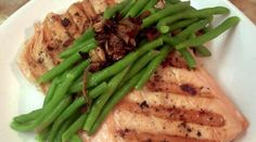 Lemon Pepper Salmon with French Green Beans & Pan-fried Shallots