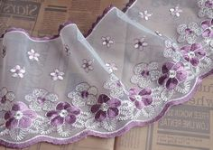 """2 Yards Lace Trim Ivory Tulle Purple Embroidered Floral 6.29"""" width High Quality"""