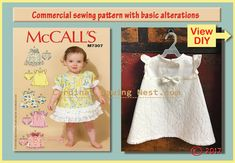 Basic pattern alterations Infant dress commercial pattern McCall's M7307