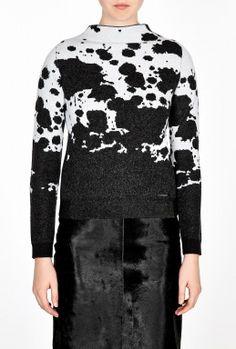 Monochrome Splatter Print Wool Jumper by Burberry Brit