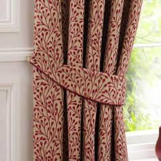 Dunelm Willow Floral Red Pencil Pleat Curtains x Red Curtains Living Room, Living Room Red, Country Style Living Room, Pleated Curtains, Drapery Fabric, Curtain Tie Backs, Curtain Tiebacks Ideas, Curtain Ideas, Tv Wall Decor