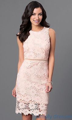 Shop floral-lace mother-of-the-bride dresses and peach knee-length dresses at Simply Dresses. The best homecoming dresses and sweet-16 dresses here