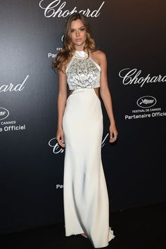 Josephine Skriver in Gabriela Cadena. See all the looks from Chopard's Gold Party at Cannes.