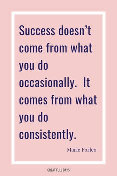 Success doesn t come from what you do occasionally. -- Overnight successes don t happen overnight! They appear that way, but come after lots of hard work. Keep going. Motivation Success, Monday Motivation, Success Quotes, Career Quotes, Entrepreneur Motivation, Relationship Quotes, Work Ethic Quotes, Hard Work Quotes, Work Hard