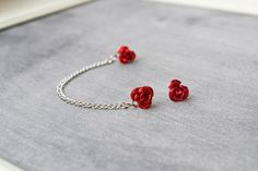 Red Rose Single Silver Chain Double Pierce Cartilage Earring (Pair). $8.50, via Etsy.