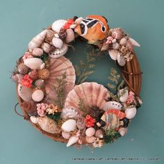 Tropical fish with albican flat sea shell by CarmelasCoastalCraft
