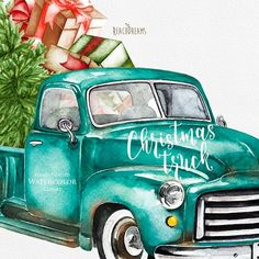 Watercolor Christmas Truck Vintage Turquoise Pickup Pine   Etsy Christmas Truck, Funny Christmas Cards, Christmas Clipart, Halloween Christmas, Christmas Humor, Christmas Paper, Christmas Images, Christmas Projects, Vintage Christmas