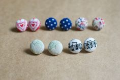 Fun fabric covered button earrings! (5 different choices) blue & white polkadots/mint green lace/red hears/music note earrings/floral studs