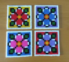 4 Coaster #cute #coaster #coasters #drink #party #flowers #handmade #pyssla #hama beads #perler #crafting #nature #idea #hobby #love