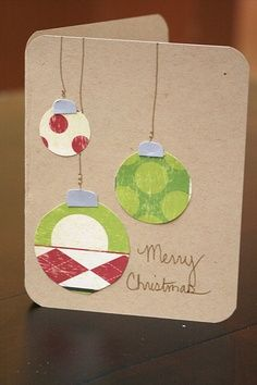 22 Ideas for diy christmas cards simple circle punch Homemade Christmas Cards, Handmade Christmas, Homemade Cards, Christmas Crafts, Christmas Decorations, Merry Christmas, Recycled Christmas Cards, Christmas Balls, Christmas Ideas