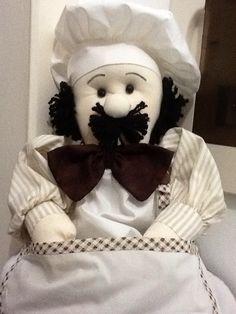 Boneco Puxa saco de tecido!  Cozinheiro!