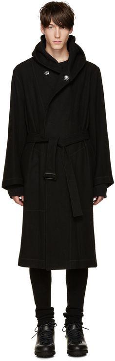 YOHJI YAMAMOTO Black Wool Belted Hooded Coat. #yohjiyamamoto #cloth #coat