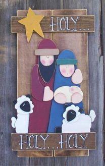 Wood Nativity Scene with lambs