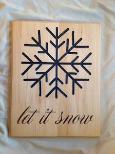Let it Snow Sign Hand Routed and Hand Burned by AllAboardWhistle, $65.00